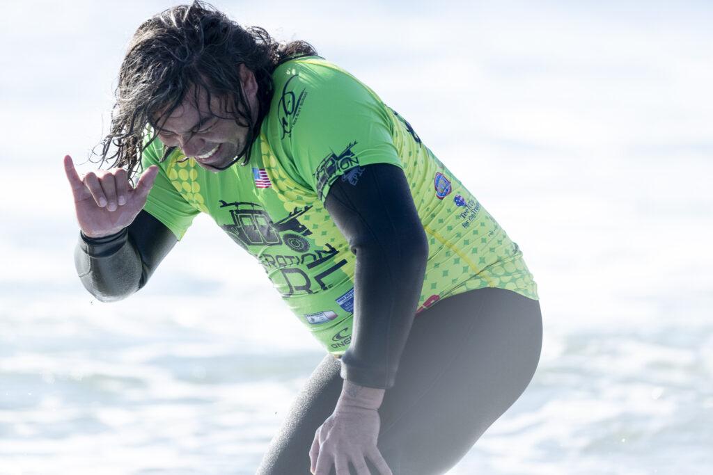 Joyful veteran surfer