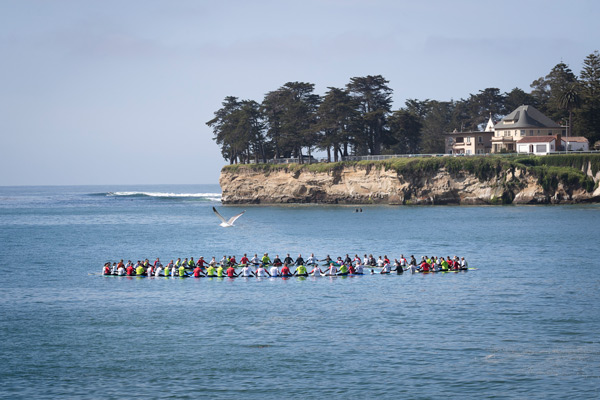 Surfers in the water.